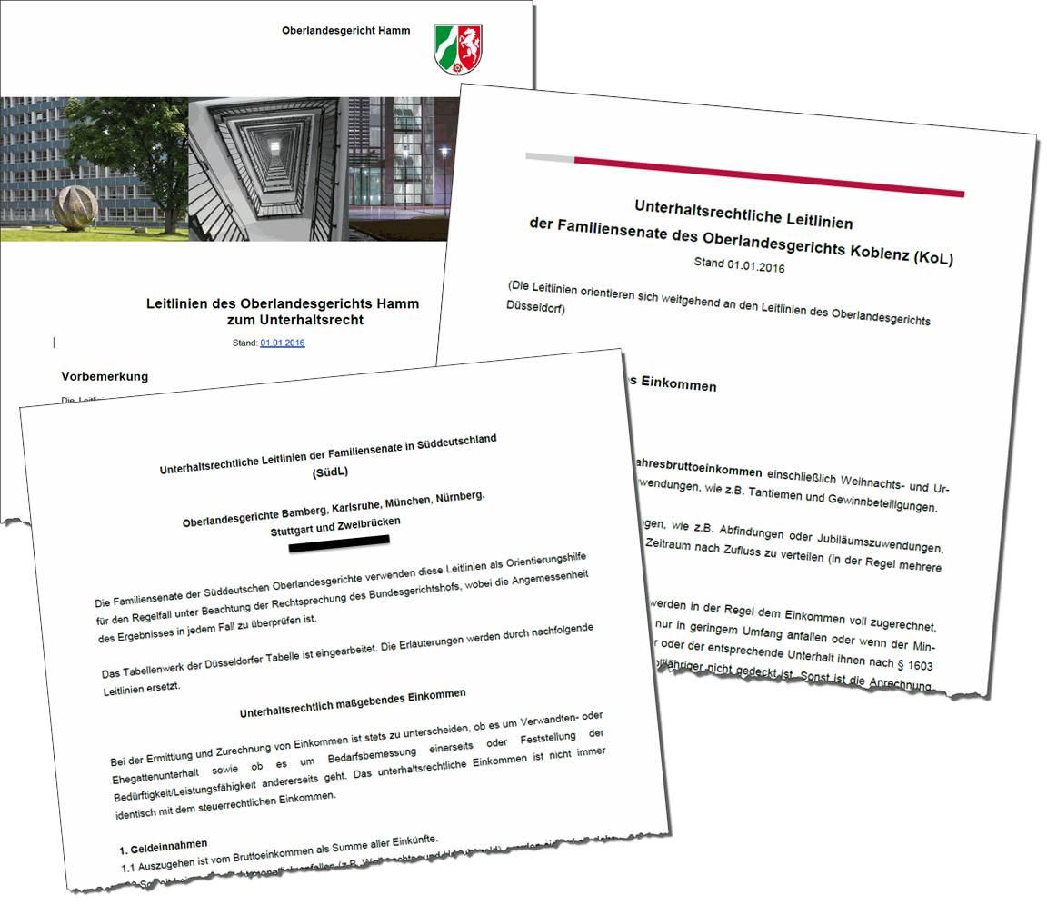 Aktuelle Unterhaltsleitlinien der OLG 2016